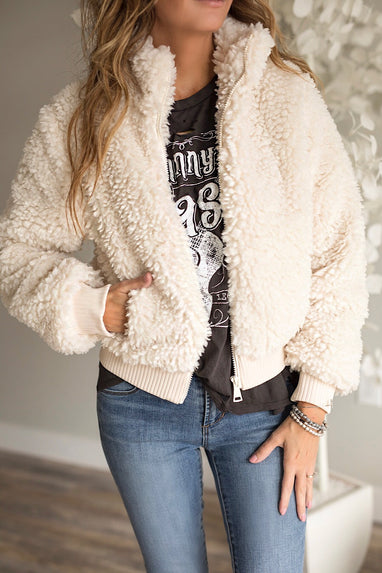 Fur Zip Up Bomber Jacket