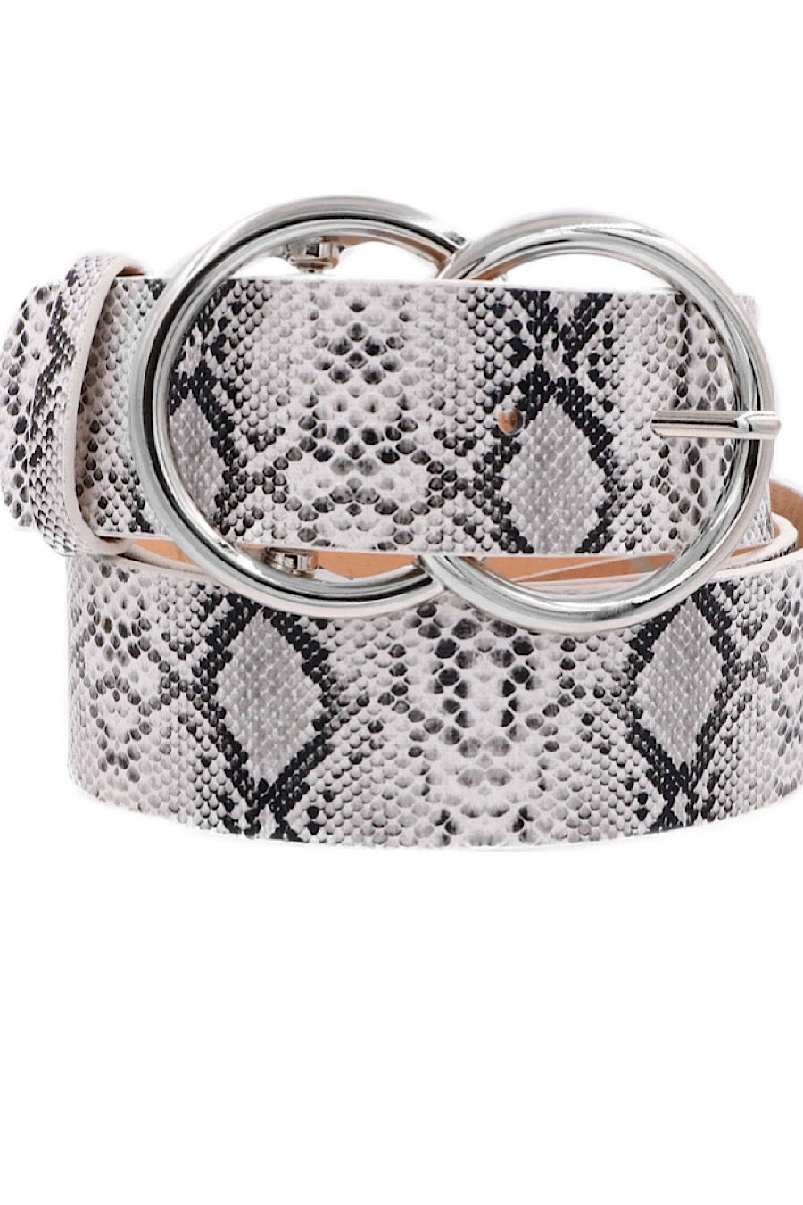 Snake print double ring belt