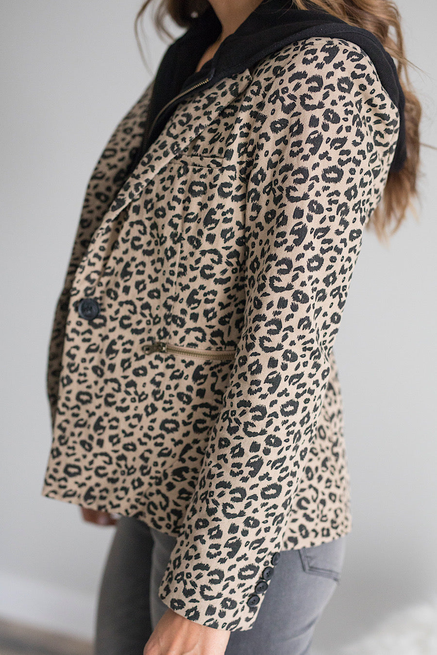 Leopard Hooded Blazer