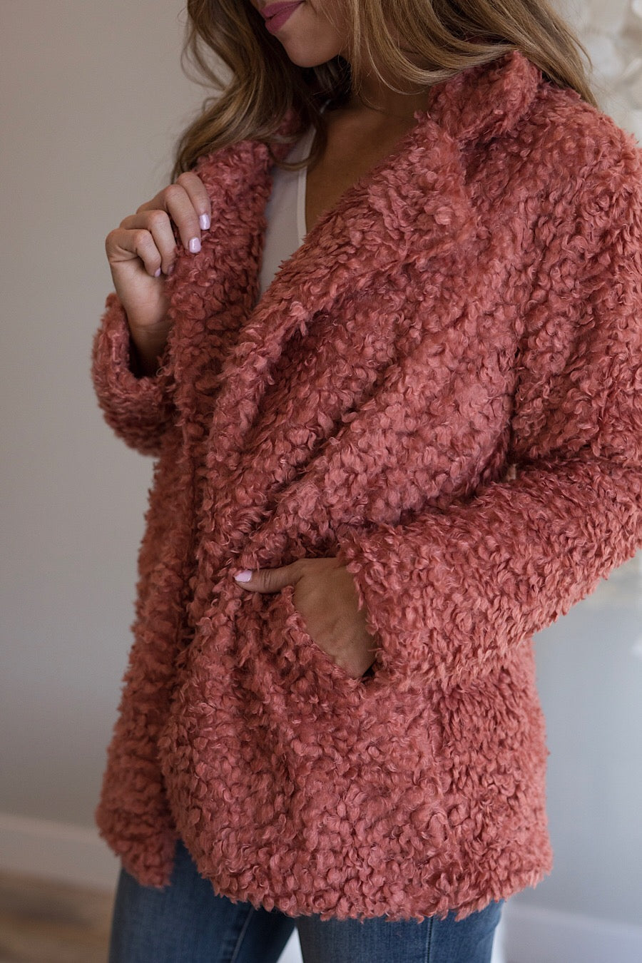 Teddy Bear Jacket in Antique Rose