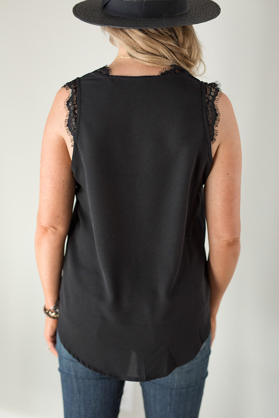 Kate Lace Cami Tank in Black