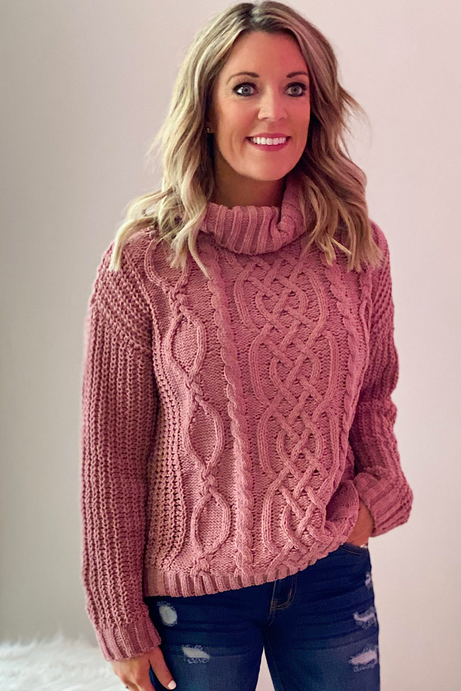 Cable Knit Cowlneck Sweater in Mauve