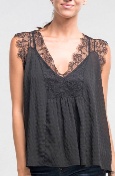 BEST SELLER! Lace Chiffon Black Blouse