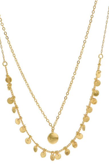 2 Layer Coin Necklace in Gold
