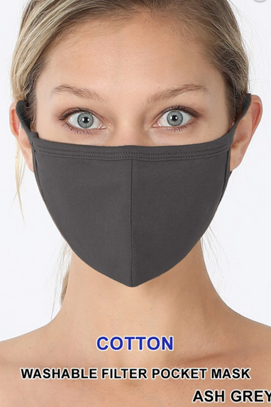 Cotton Face Mask in Black, Ash Grey or Hot Pink