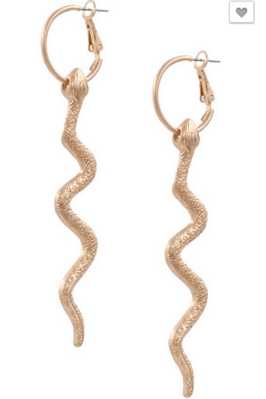 Snake Drop Earrings in Gold or Silver