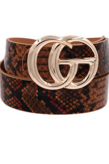 SnakePrint Belt in Brown