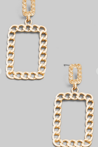 Chain Link Square Drop Earrings