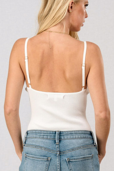 Ribbed Cami Bodysuit in White