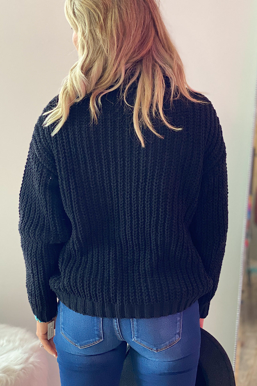 Cable Knit Cowlneck Sweater in Black