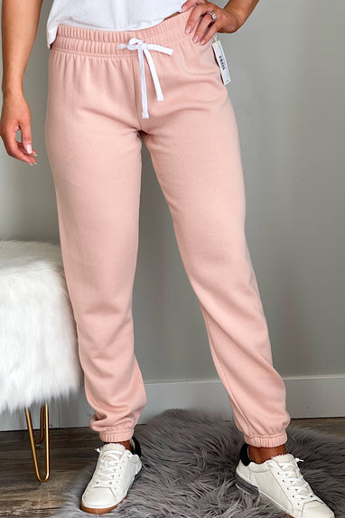 Fleece Joggers w/Elastic Cuffs in Salmon