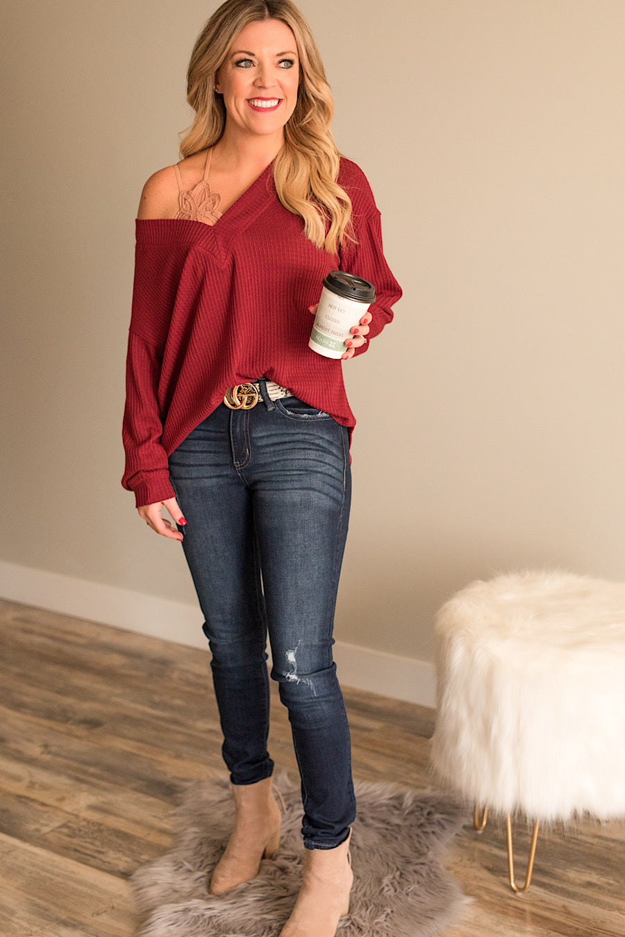 Off the Shoulder Waffle Top in Wine