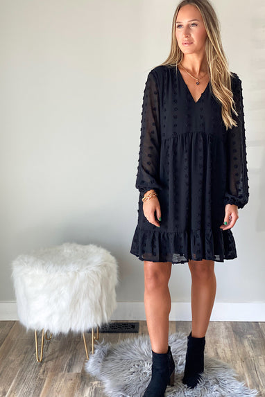 Swiss Dot Chiffon Babydoll Dress