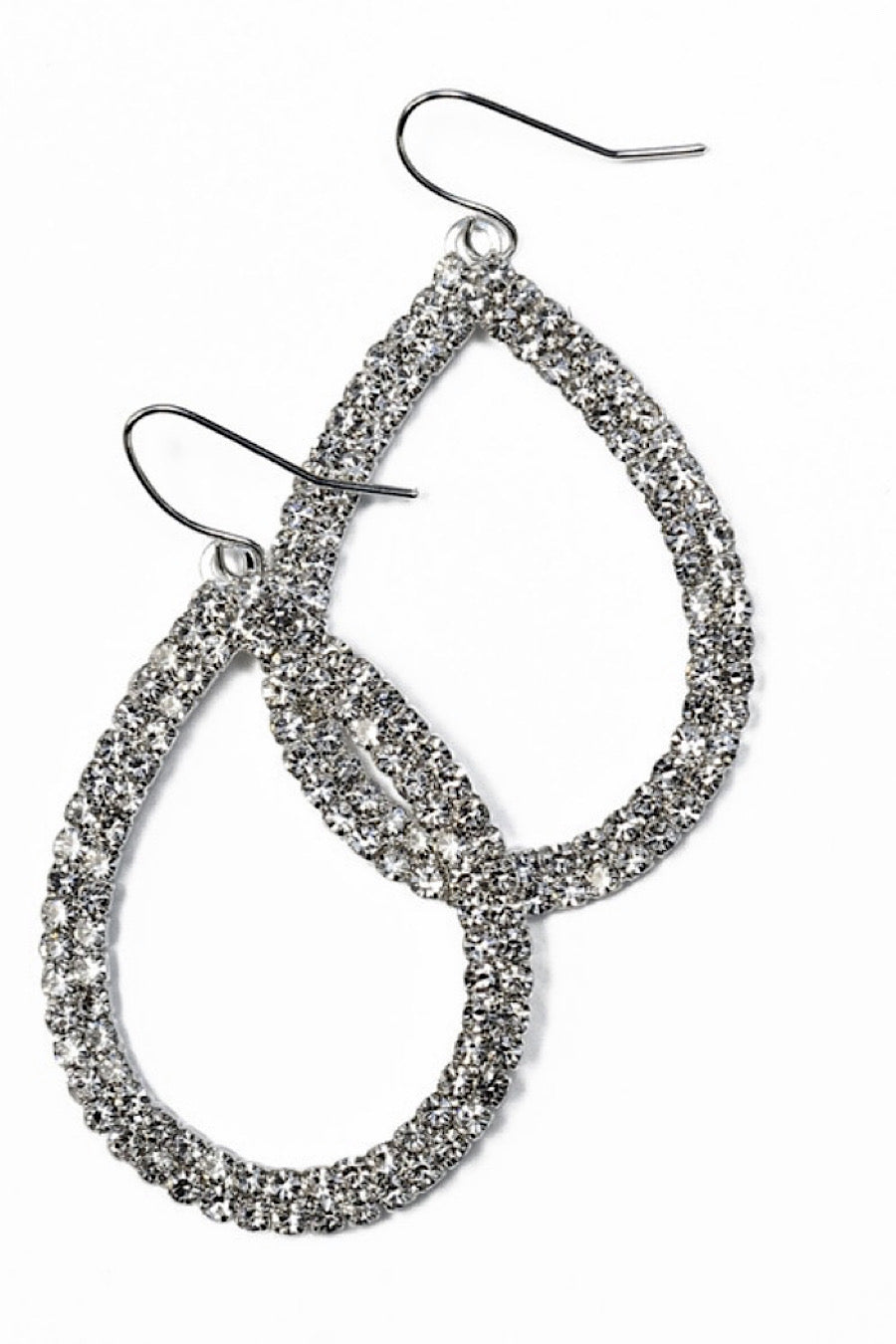 Pear Shape Drop Earrings in Crystal