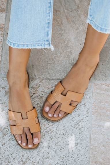 H Slide Croc Sandals in Tan