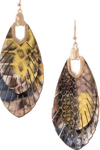 Leather Layered Feather Earrings