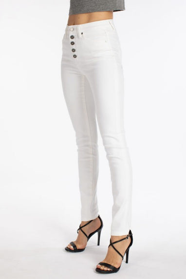 Morgan Button Fly Jeans in White