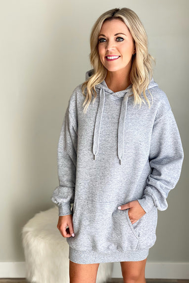 Oversized Tunic Sweatshirt Dress in Heather