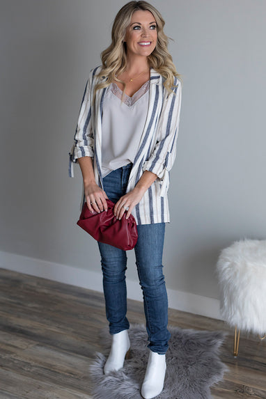 Striped Linen Blazer in Blue