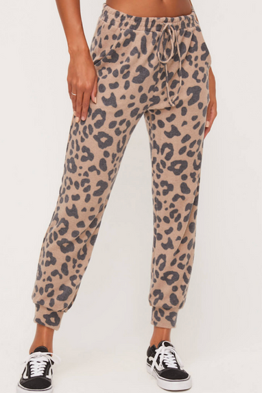 Animal Print Fleece Joggers in Taupe