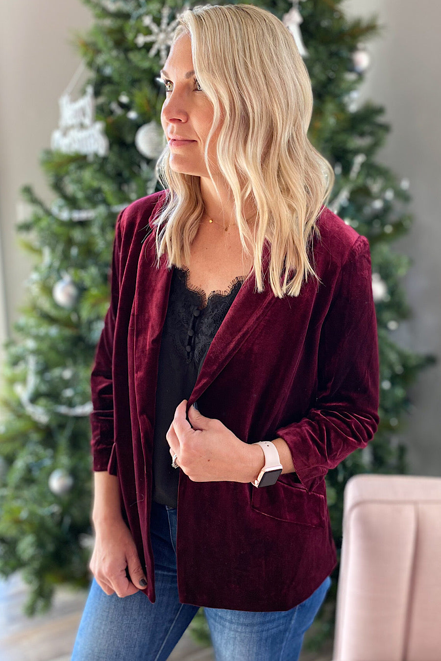 Generation Velvet Blazer in Burgundy