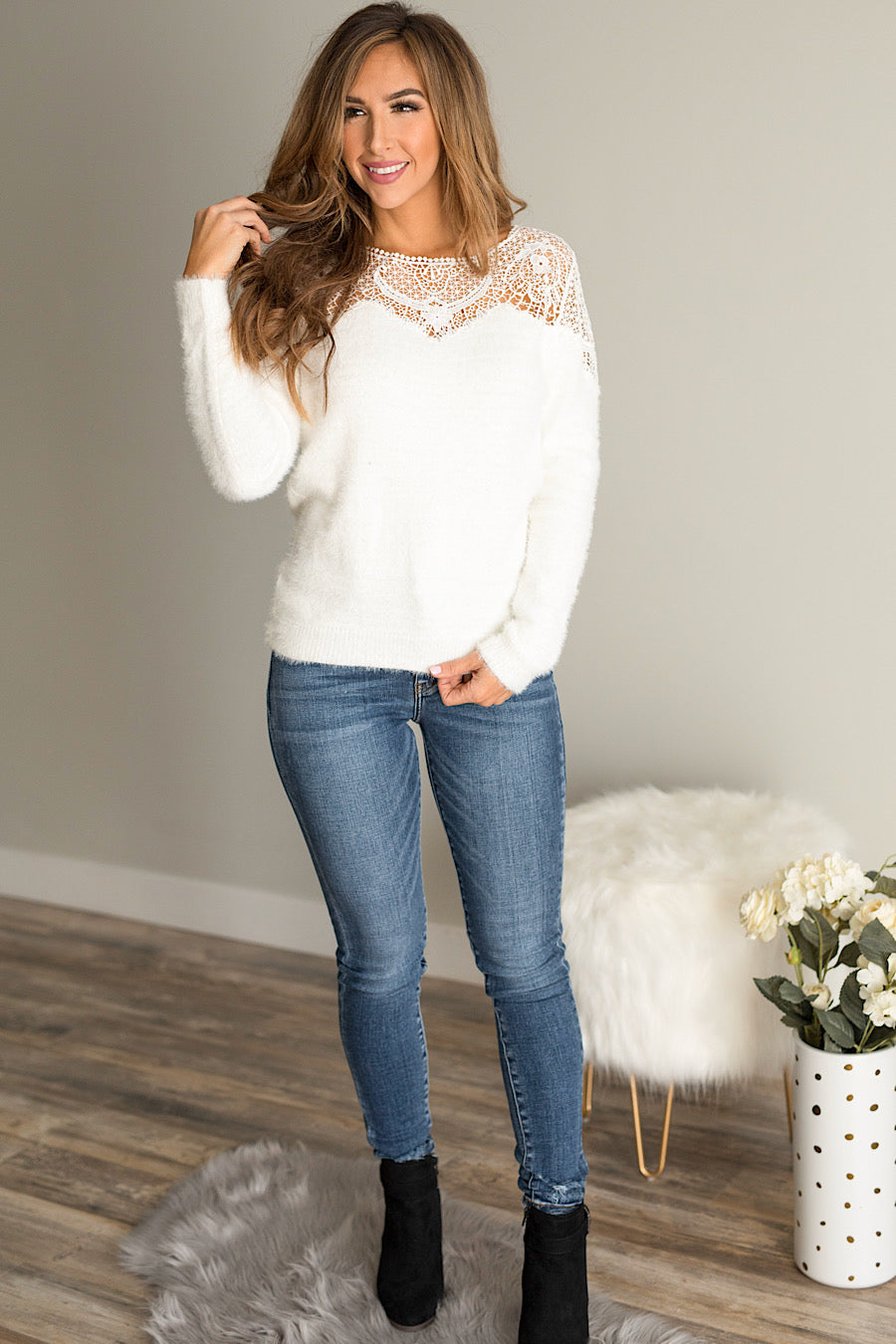 Nora Crochet Lace Sweater