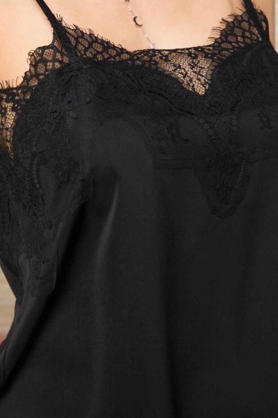 Lace Cami Tank in Black