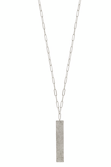 Matte Silver Bar Necklace in Gold or Silver