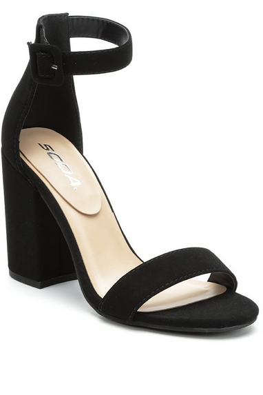 Iris Chunky Heel Sandals in Black