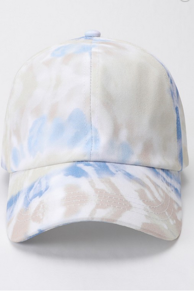 Cotton Tie-Dye Baseball Cap in Blue