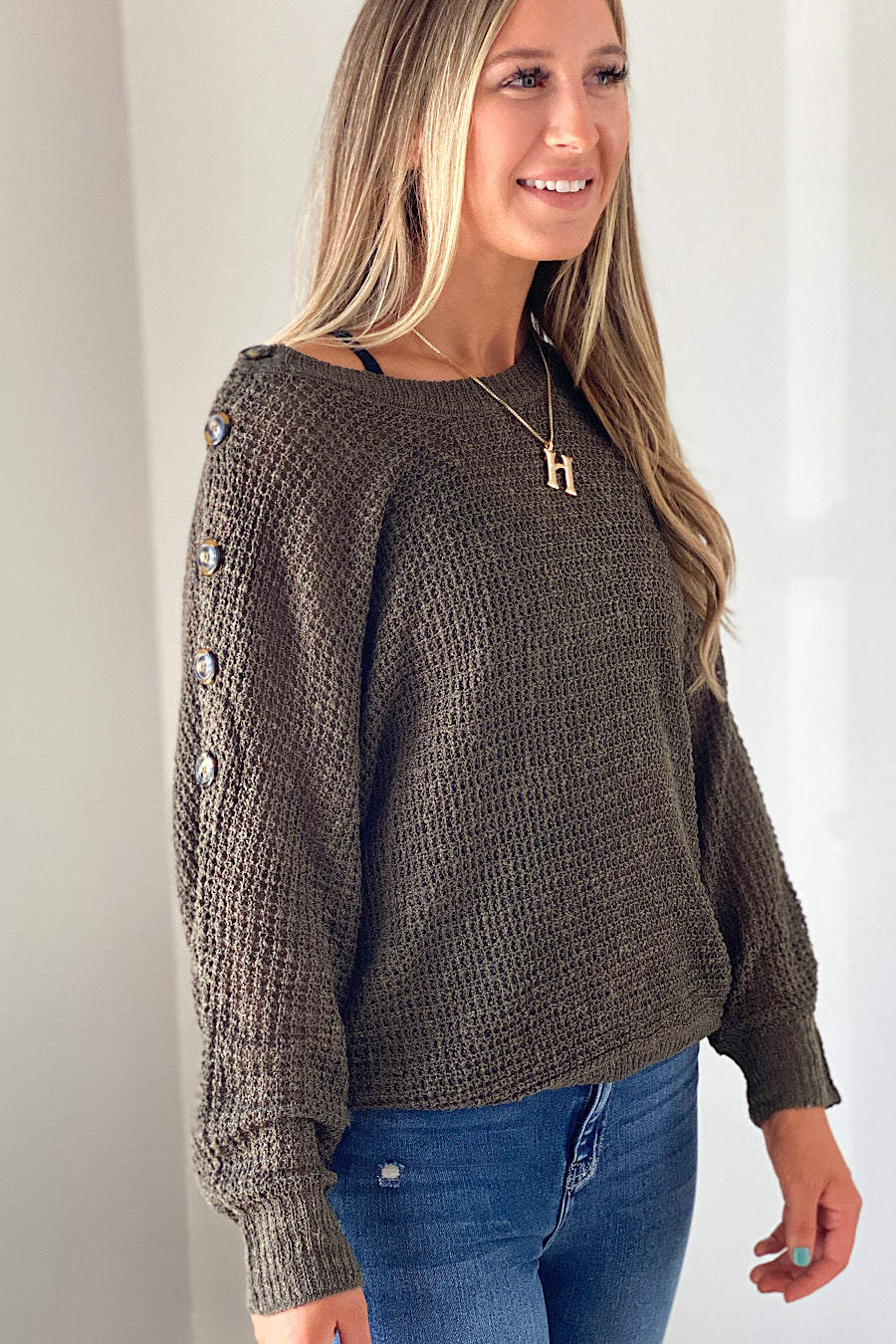 Tundra Button Detail Dolman Top