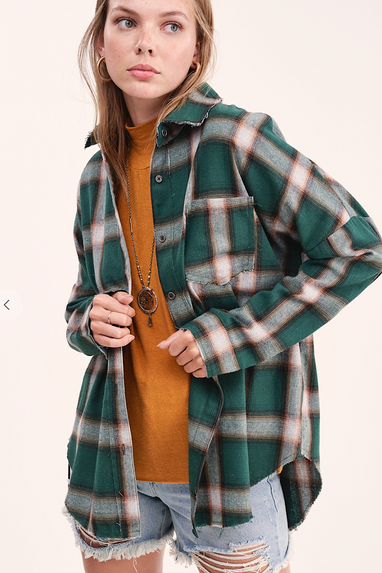 Cobain Flannel Shirt in Hunter Green