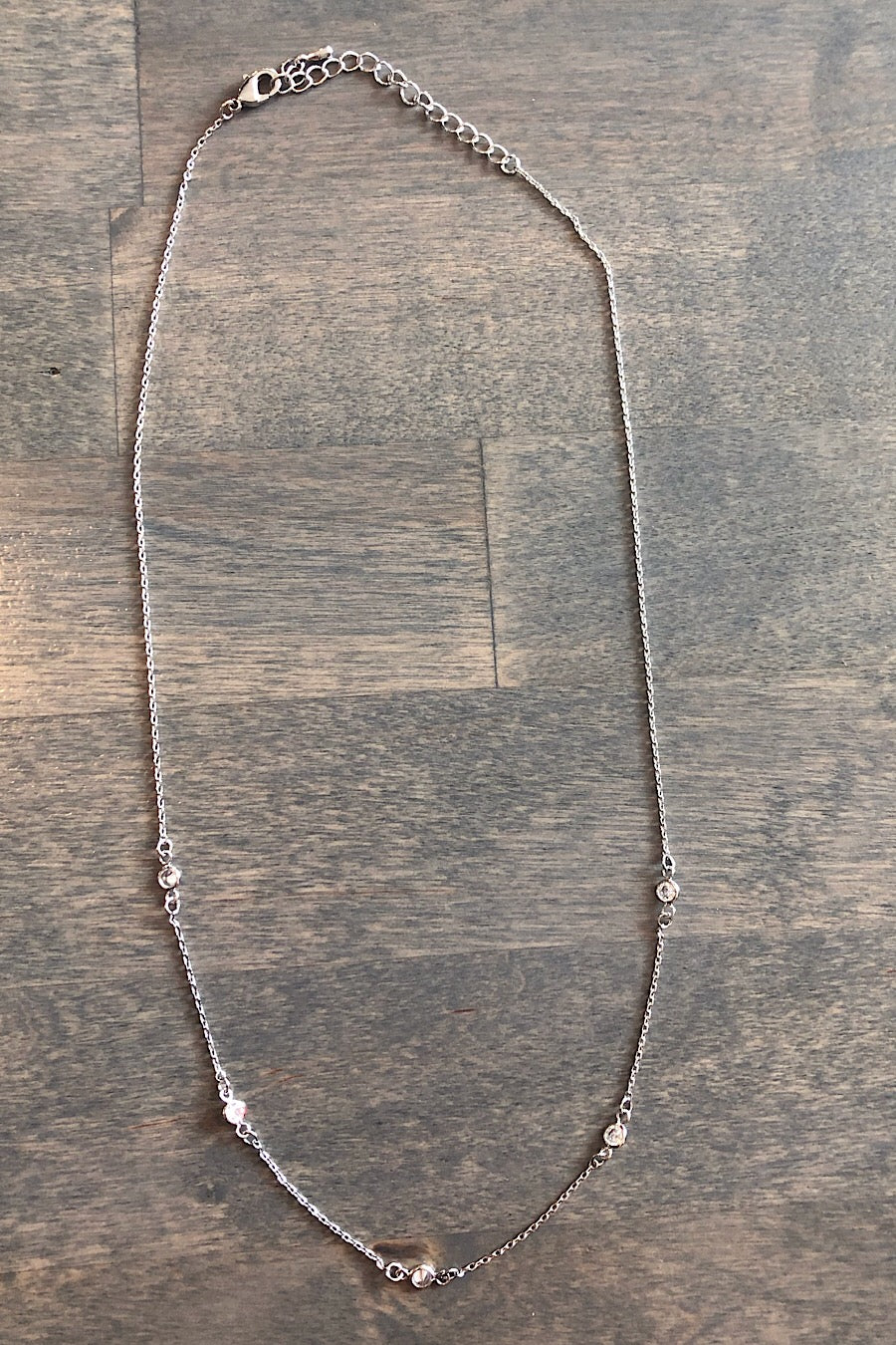 Thin Chain Necklace with Jewels