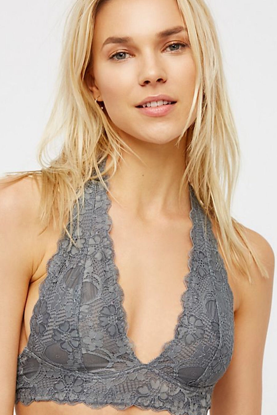Free People Lace Halter Bralette in Graphite, Nude, Navy or Ivory