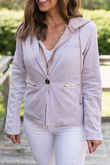 Pinstripe Hooded Blazer in Blush