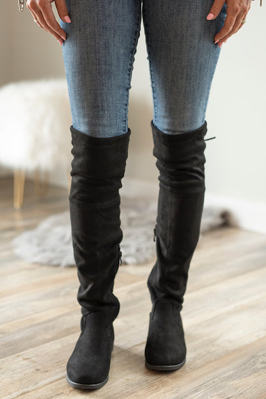 Black Weismann Flat Over the Knee Boots