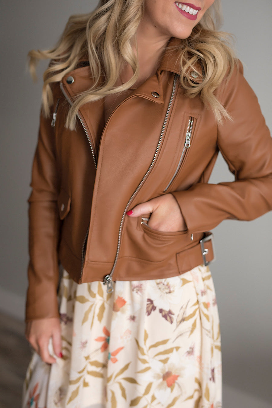 Skylar Moto Jacket in Cognac