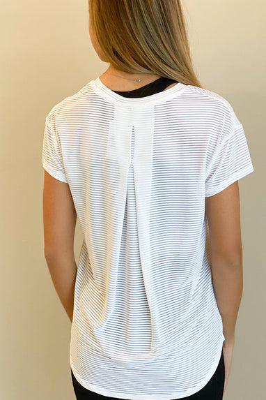Sheer Striped Panel Back Tee