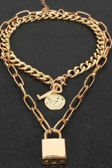 Padlock Chain Necklace & Coin Key Choker