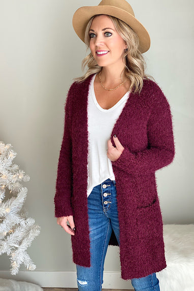 Popcorn Eyelash Open Cardigan in Wine