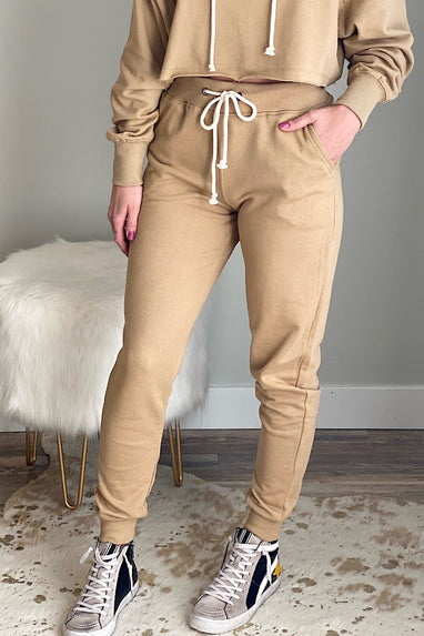 Terry Relaxed Joggers in Tan