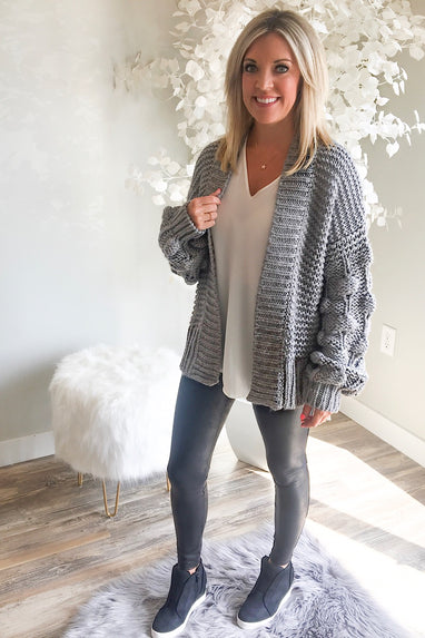 Hand-Knit Popcorn Cardigan in Grey