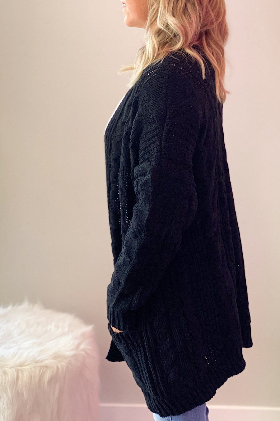 Jayden Cable Knit Cardigan in Black