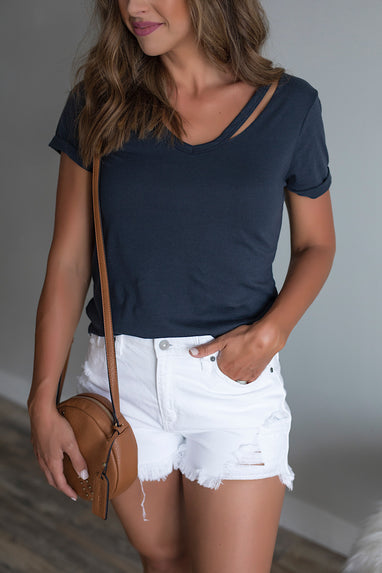 Navy Distressed V-Neck Tee