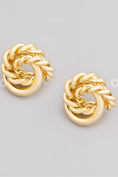Knotted Studs in Gold or Silver