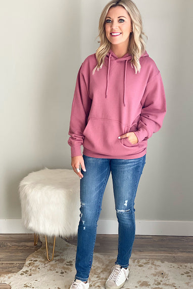 Boyfriend Hooded Pullover in Begonia Pink