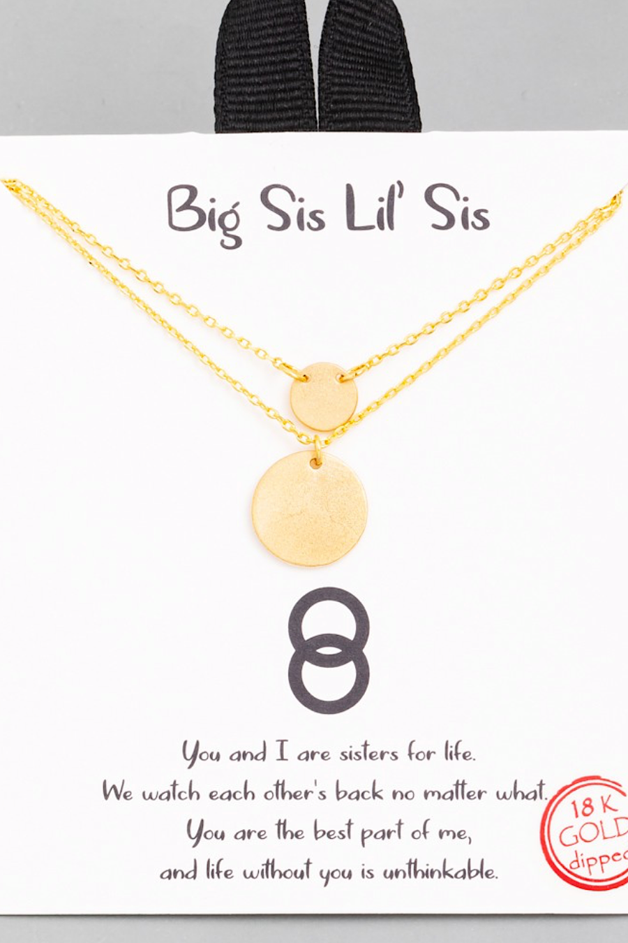 Layered Disc Big Sis Lil Sis Necklace in Gold or Silver