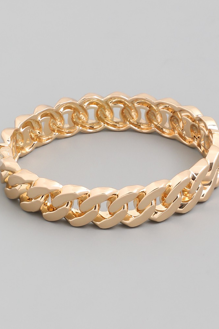 Chain Link Bangle Bracelet in Silver or Gold