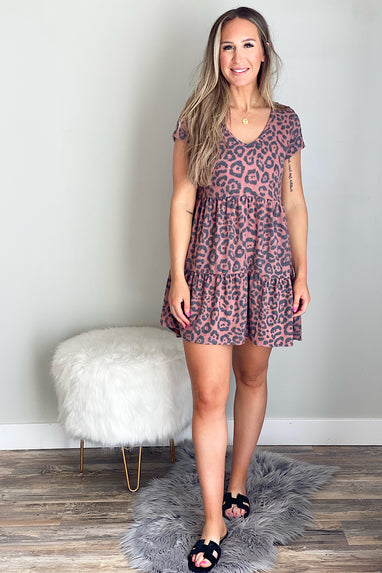 Rust Leopard Babydoll Dress