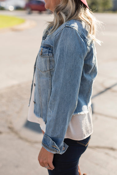 Adam Distressed Denim Jean Jacket